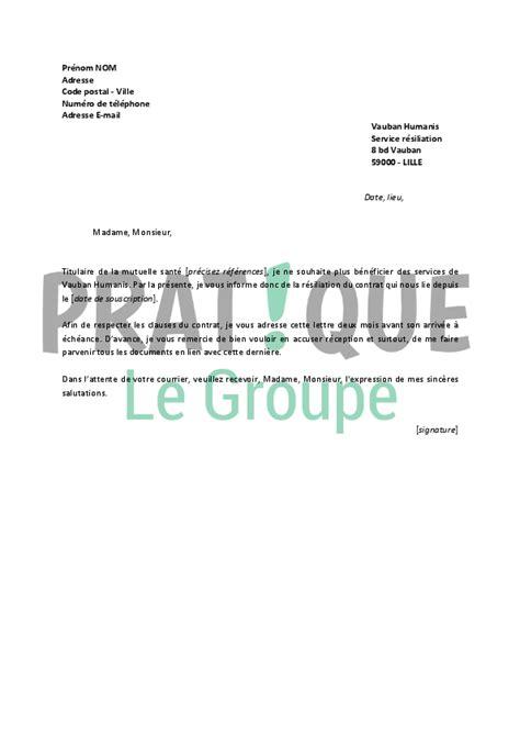 Resiliation Lettre Gratuite Lettre De R 233 Siliation Vauban Humanis Pratique Fr