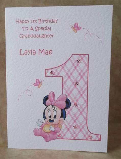 Handmade Minnie Mouse Birthday Cards - handmade personalised birthday card disney minnie
