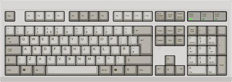 keyboard layout vista english qwerty uk computer grey keyboard stock vector