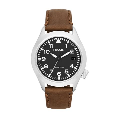 Fossil Leather Brown fossil aeroflight brown leather mens in brown for lyst