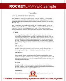 payment bond surety bond form with sample