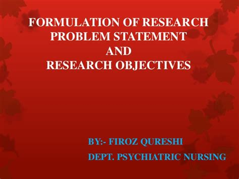 problem formulation and statement of research objectives my by ram sharan mehta ph d