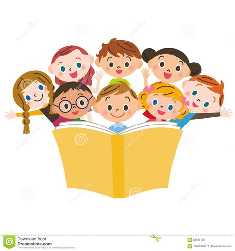 enfant qui lit un livre illustration de vecteur image
