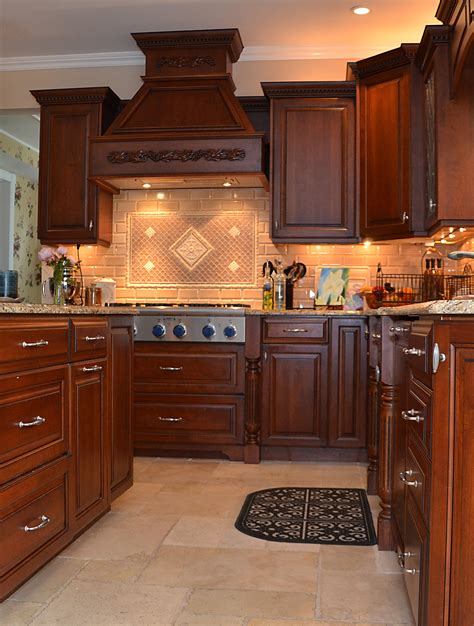 Custom Kitchen Cabinets Nj leaded glass cherry kitchen wall new jersey by design line