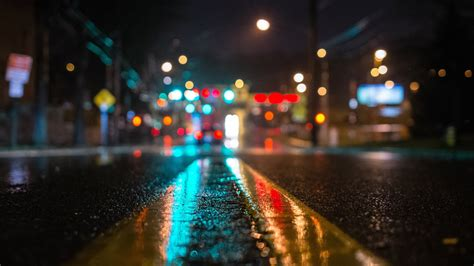 Awesome Night Lights Road In The Dark City Wallpaper 2542
