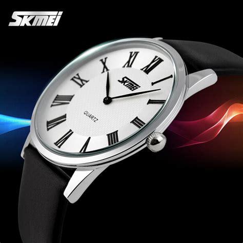 Skmei Fashion 9092 Original Water Resistant 30m Putih Hitam skmei 9092 leater band ultra thin waterproof quartz alex nld