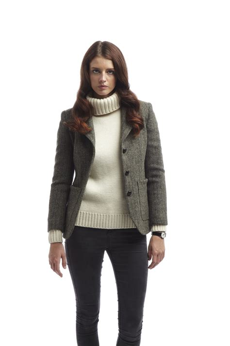 women s womens harris tweed jacket grey