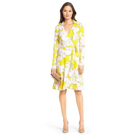 Outlet Alert Diane Furstenberg Graphic Patterned Dress by Diane Furstenberg T72 Silk Jersey Wrap Dress In Yellow