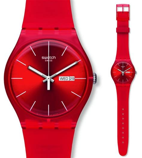 red swatch swatch red rebel watch suor701 163 44 50 from timewatchshop