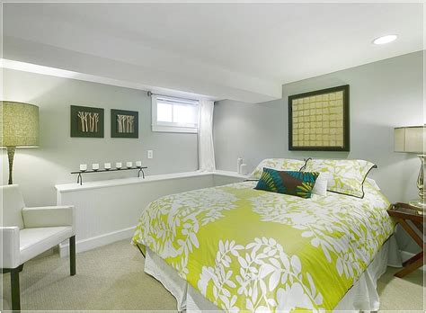 basement bedroom with a simple color scheme basement