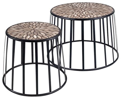 wrought iron side table outdoor rustics mosaic drum nesting tables set of 2 in wrought