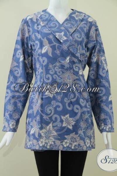 Dress Batik Kimono Model Trendi batik kimono warna biru elegan dan trendy untuk wanita