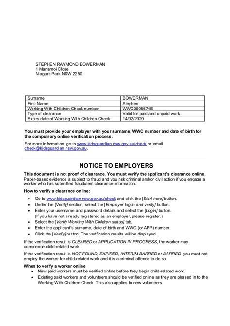clearance letter template wwcc clearance letter employee