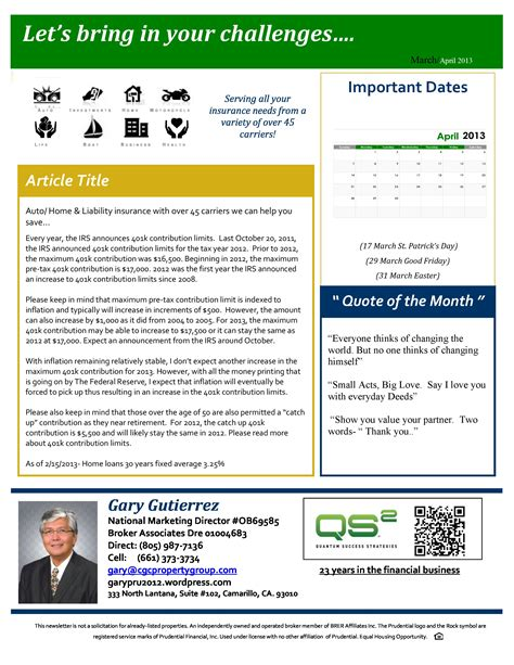 Gary Gutierrez Prudential Real Estate Beach Property Real Estate One Page Newsletter Template