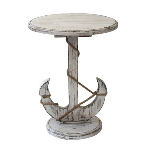 Nautical Side Table Distressed White Anchor Nautical Rope Accent Table