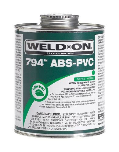 Weldon Plumbing by Weld On 10275 Green 794 Medium Bodied Transition Abs To