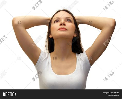 youngest looking women young woman looking up stock photo stock images bigstock