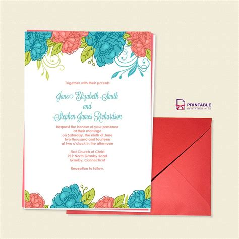 Free Pdf Download Summer Blooms Wedding Invitation For Customizations Printableinvitationkits Pdf Invitation Templates