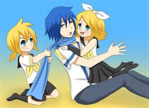 www len de rin len and kaito baby sitting by ladygalatee on deviantart