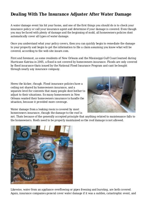 how to deal with insurance adjuster after a house fire dealing with the insurance adjuster after water damage