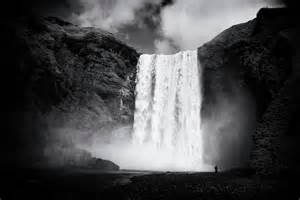 Waterfall Duvet Cover Iceland Black And White Skogafoss Waterfall Photograph By