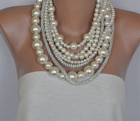 pearl layered necklace chunky layered ivory pearl necklace with by hmbysemraascioglu