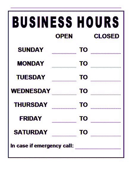 Free Business Hours Sign Template Emetonlineblog Trading Hours Template Free