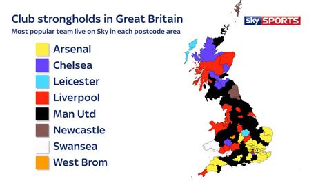 map uk football clubs which is the most watched premier league team in your area