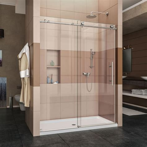 frameless bathroom doors dreamline enigma x 56 in to 60 in x 76 in frameless
