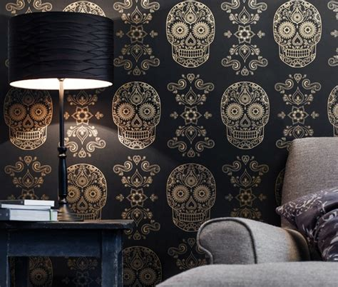 gold sugar skull wallpaper cool material