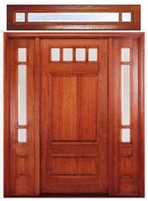 craftsman front door  high windows   transom