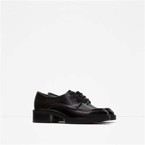 zara shoes flats zara flat lace up shoes in black lyst