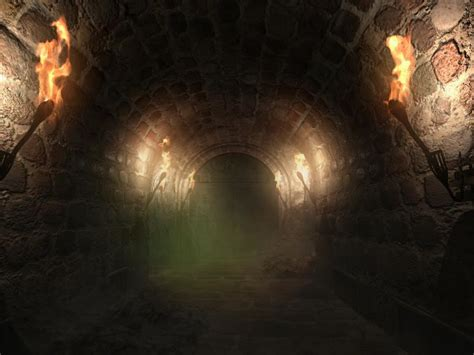 dungeon dark castle background descending to the dungeon infocus