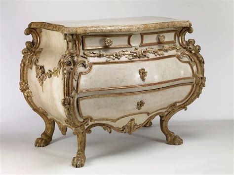 german rococo painted and parcel gilt commode paintings