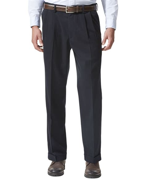 comfortable khaki pants dockers comfort khaki relaxed fit pleated pants in blue