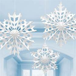 3 white christmas snowflake paper fan decorations light