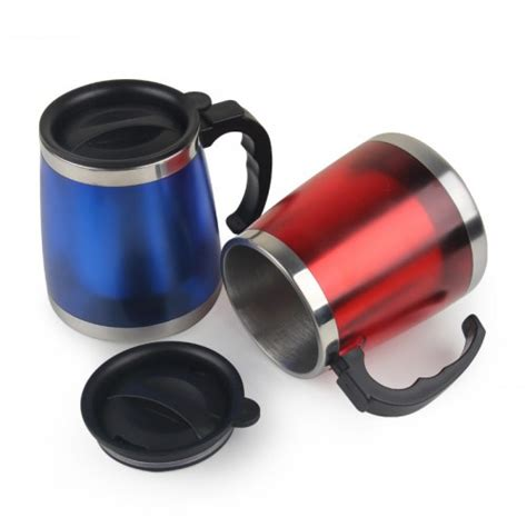 24 units of coffee mug stainless steel with handle at oem 450ml stainless steel small thermos mini coffee mug