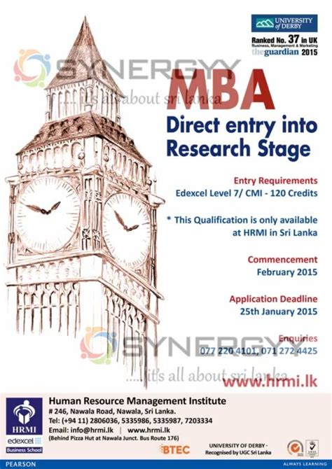 Of Colombo Mba Programme by Of Derby Mba Programme In Sri Lanka 171 Synergyy
