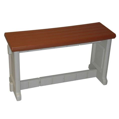 resin patio bench leisure accents 36 in redwood resin patio bench lapb36 r