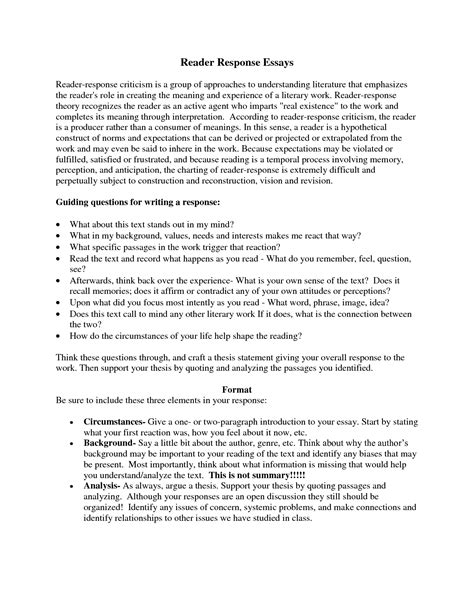 Exle Of A Summary Essay by Essay Response Format Template
