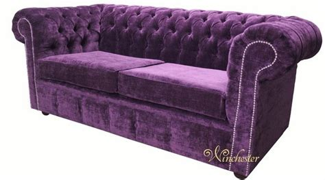 Chesterfield Fabric Sofa Bed by Chesterfield 2 Seater Settee Sofa Bed Velluto Amethyst Fabric