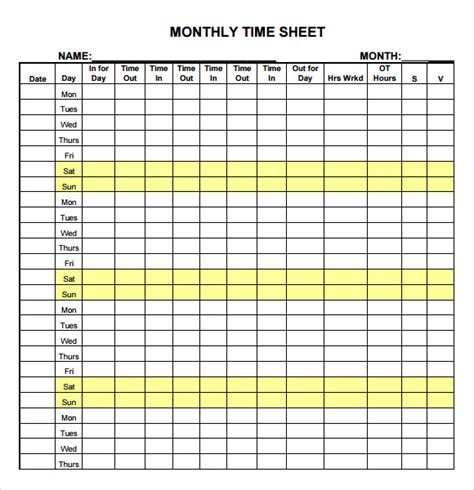 monthly time cards templates 24 sle time sheets sle templates
