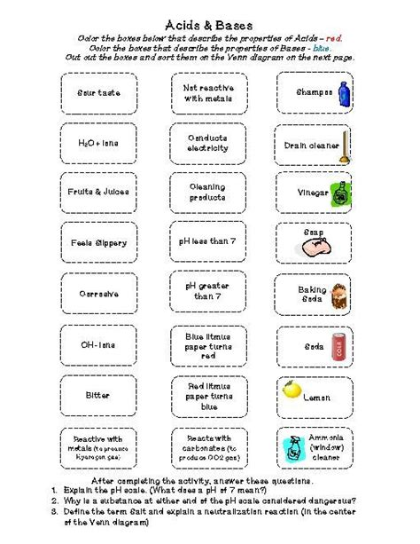 Acid And Base Strength Worksheet Answers image result for worksheets for middle school on acids and