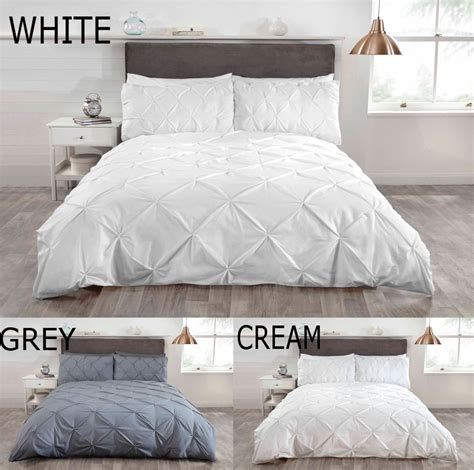 white and cream bedding luxury duvet quilt bedding bed set and pillowcases pintuck