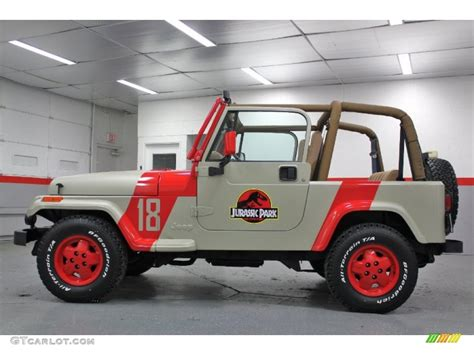 jurassic world jeep jurassic park tan red 1994 jeep wrangler se 4x4 exterior