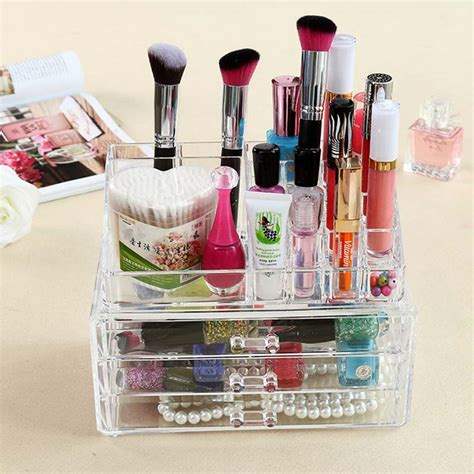 Makeup Desk Organizer Acrylic Jewelry Makeup Organizer Large Rectangle Storage Drawer For Cosmetic Jewelry Makeup