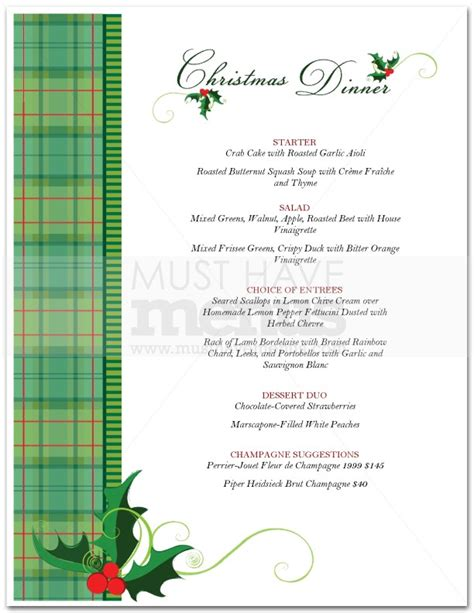 christmas food menu page 1
