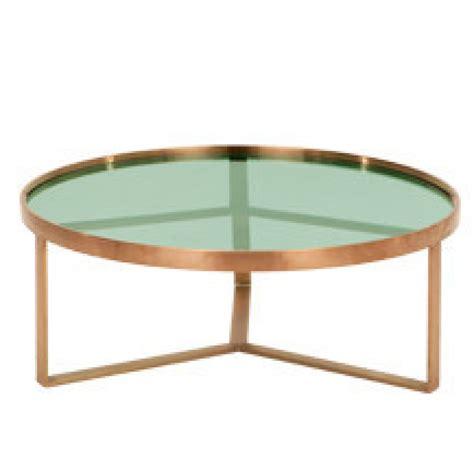 glazen salontafel met koper aula salontafel geborsteld koper en groen glas