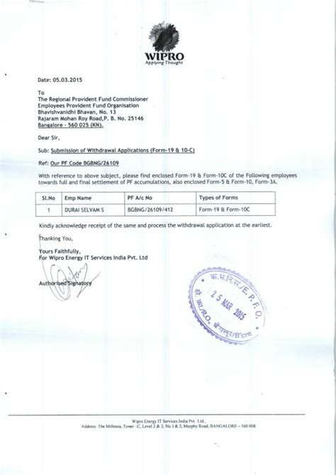 Pf Withdrawal Letter Sle application letter for pf claim formatessay web fc2
