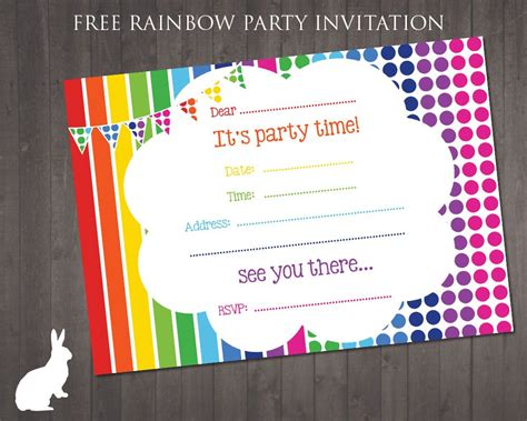 printable themed party invitations free rainbow party invitation ruby and the rabbit